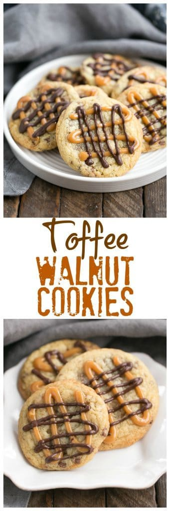 Toffee Cookies | Chock full of toffee and walnuts and drizzled with caramel and chocolate!