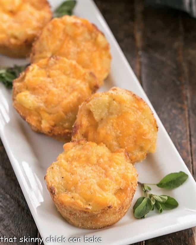 Cheesy Potato Cups on a white serving tray