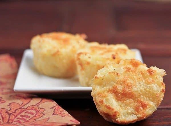 Cheesy Potato Cups on a square white plate