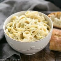 Light Fettuccine Alfredo | A creamy flavorful, lightened up Fettuccine Alfredo that tastes amazing!