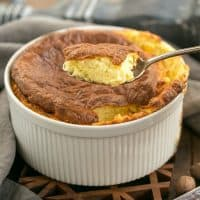 French Gruyere Souffle - a dreamy cheese souffle flavored with French Swiss cheese, nutmeg and a pinch of cayenne