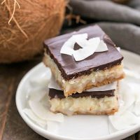 Coconut Mounds Bars - Fabulous coconut bars with a graham cracker crust and ganache topping