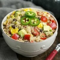 Quinoa Black Bean Salad with Lime Cumin Vinaigrette