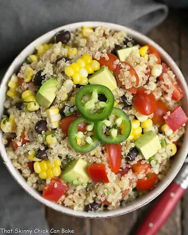 Overhead view ofQuinoa Black Bean Salad with Lime Cumin Vinaigrette in a white serving bowl