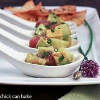Tuna Tartare with Avocadoes in Asian spoons
