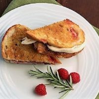 Mozzarella Grilled Cheese with Raspberries and Brown Sugar viewed from above on a white plate