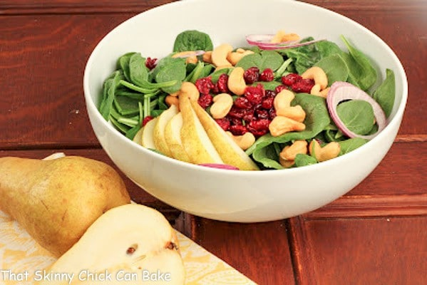 Spinach Salad with Pears, Cranberries and Cashews