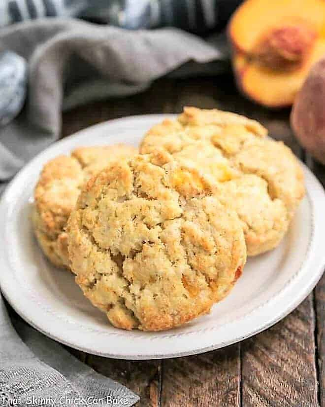 Brown Butter Peach Scones on a round white plate