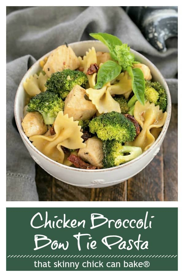 Chicken, Broccoli, Sun-dried tomatoes and bow tie pasta photo and text collage