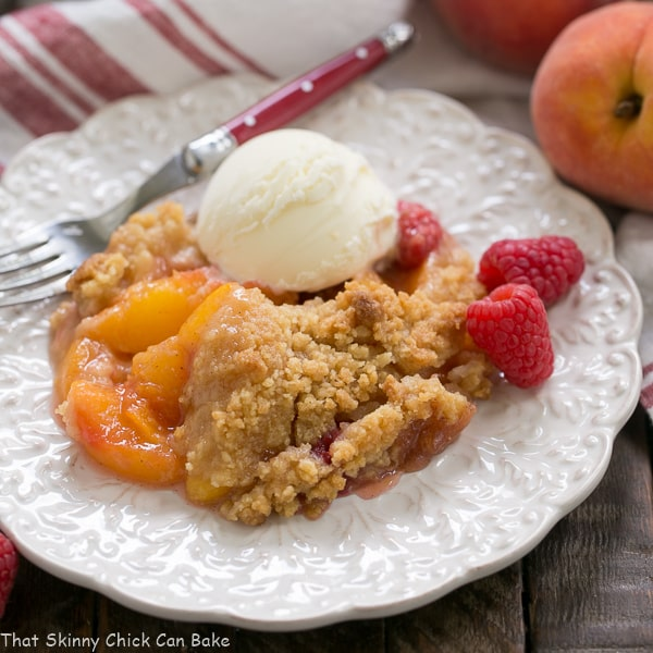 Peach Raspberry Crisp | A heavenly summer dessert that's easy and unforgettable!!