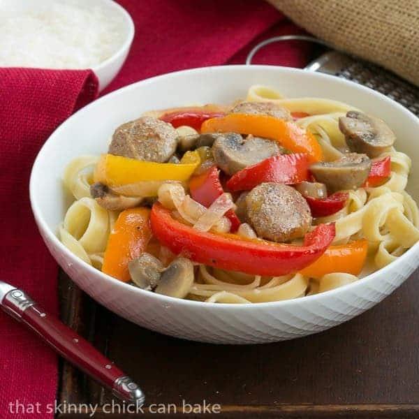 Sausage, Pepper, Mushroom Fettuccine