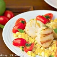 Warm Scallop Salad with Corn, Nectarines and Basil