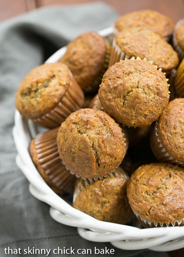 Buttermilk Bran Muffins in a white ceramic basket