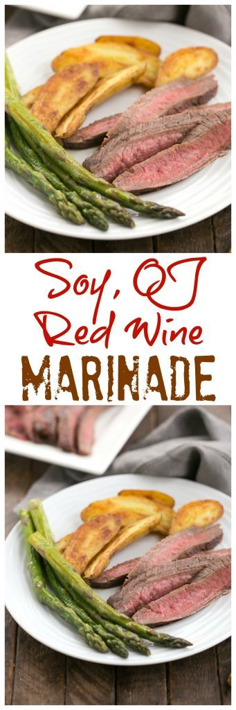 Soy, Orange Juice, Red Wine Marinade | A versatile marinade that's perfect for flank steak, chicken thighs, shrimp and more!