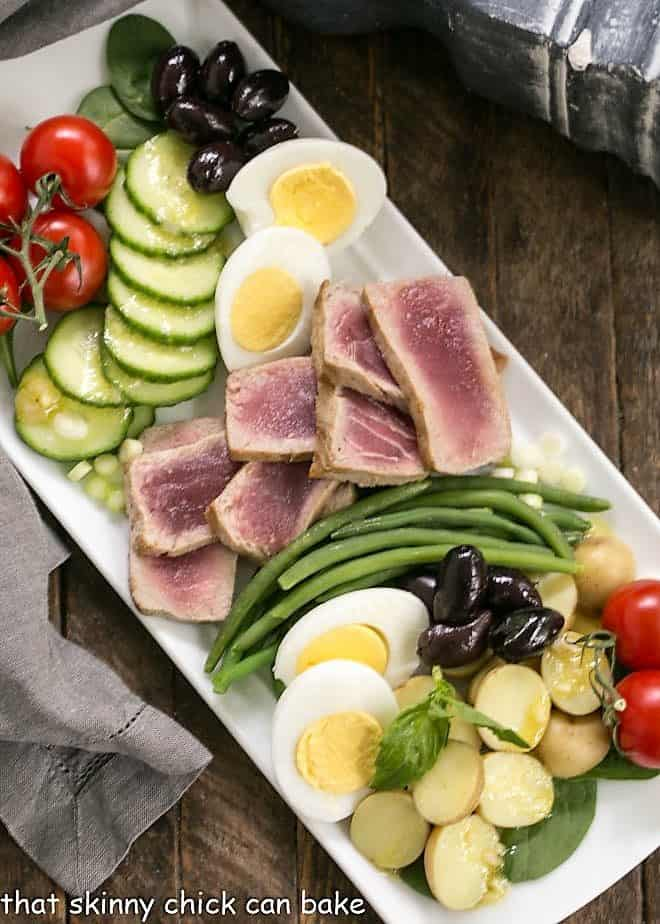Overhead view of Ahi Tuna Salade Niçoise on a white platter