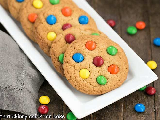 Classic M & M Cookies on a white tray