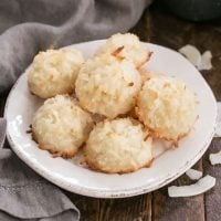 Coconut Macaroons on a round white plate