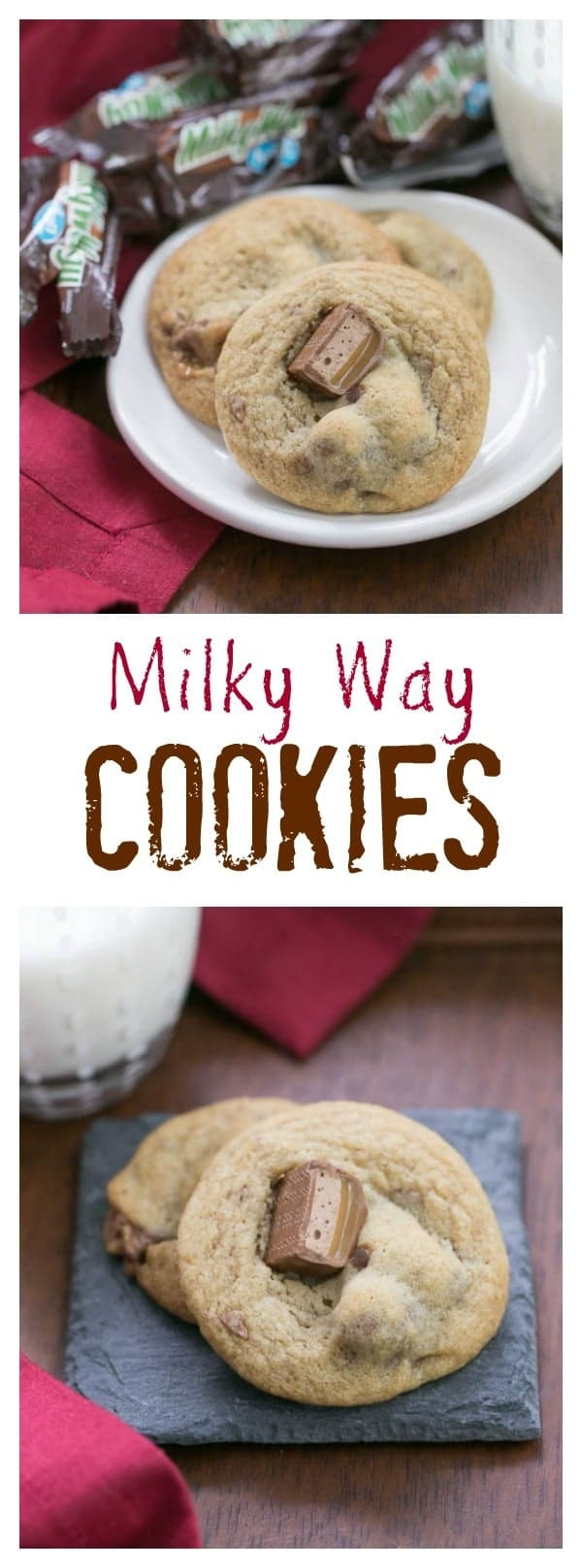 Milky Way Cookies | Buttery, dark brown sugar cookies filled with caramelly chunks of Milky Way candy bars