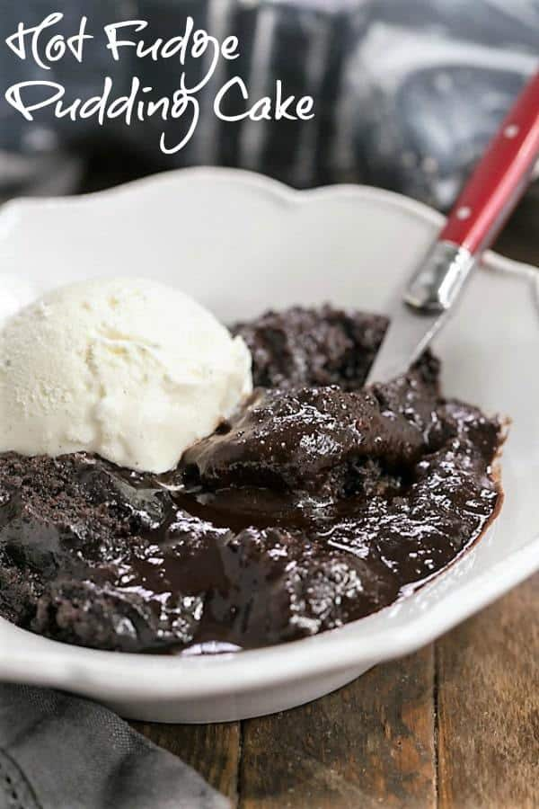 Hot Fudge Pudding Cake - When fudgy brownies and chocolate pudding collide! #puddingcake #fudgydessert #chocolate #browniecake #chocolatelovers
