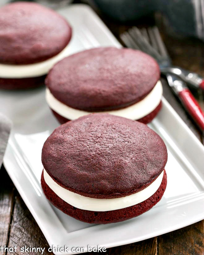 Red Velvet Whoopie Pies - That Skinny Chick Can Bake