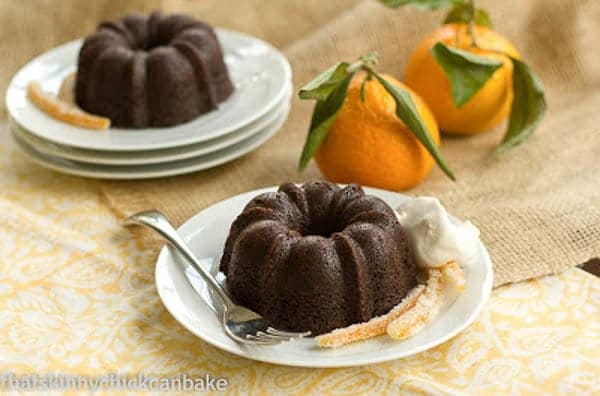 Gingerbread Baby Cakes   Mini holiday cakes garnished with candied orange peel