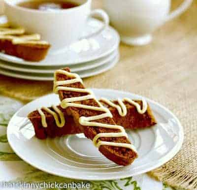 Gingerbread Biscotti  on a small white plate