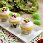 Holly Topped White Cupcakes #Christmas Week