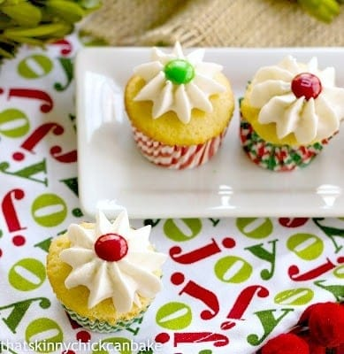 Holly Topped White Cupcakes | Perfect sweet treat any time of year!