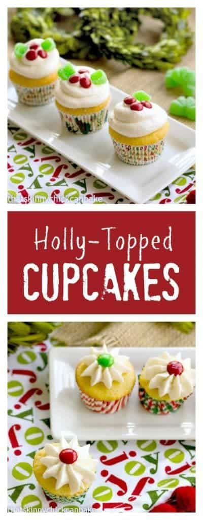 Holly Topped White Cupcakes pinterest collage
