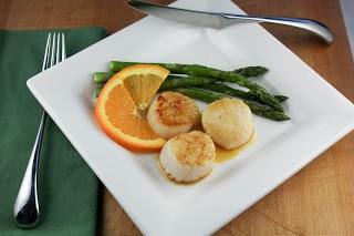 Scallops withCaramel Orange Sauce