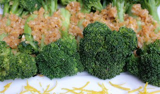 Garlicky Crumb-Coated Broccoli on a white platter