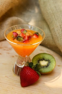 Cold Melon-Berry Soup   An elegant summer soup made with luscious fresh fruits and a slosh of crisp white wine