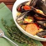 Mussels with Chorizo and Pasta~