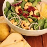 Spinach Salad with Pears, Cranberries and Cashews~