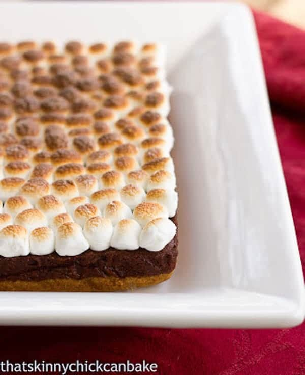 S'mores Brownies with a graham cracker crust, brownie middle and marshmallow topping!