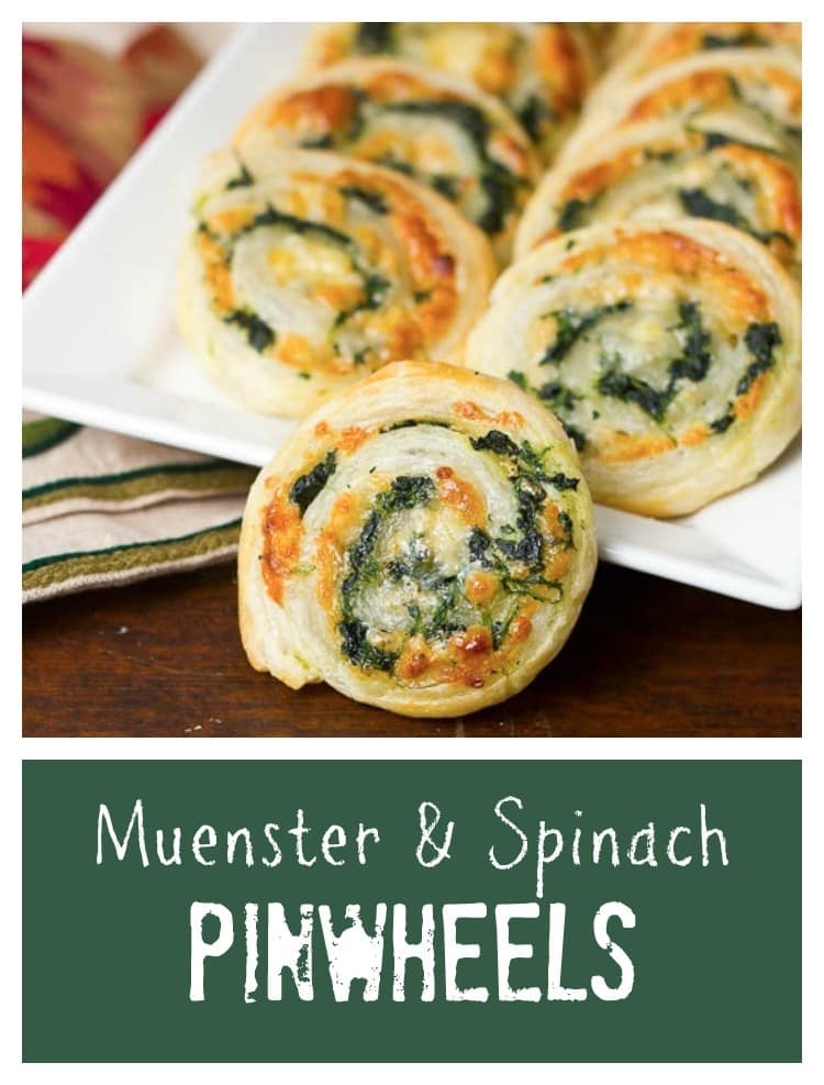 Muenster and Spinach Pinwheels | Butter puff pastry filled with spinach and cheese!