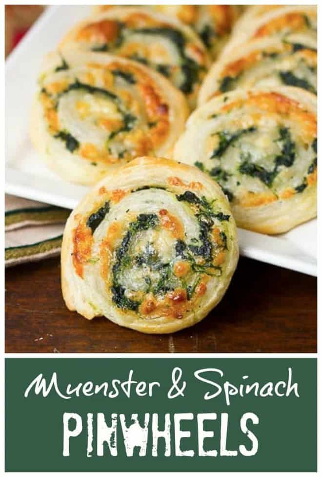 Muenster and Spinach Pinwheels Pinterest collage