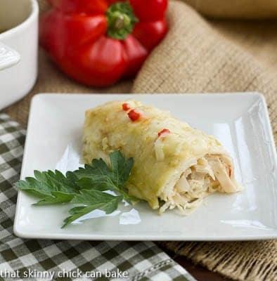 Creamy Chicken Enchiladas | That Skinny Chick Can Bake