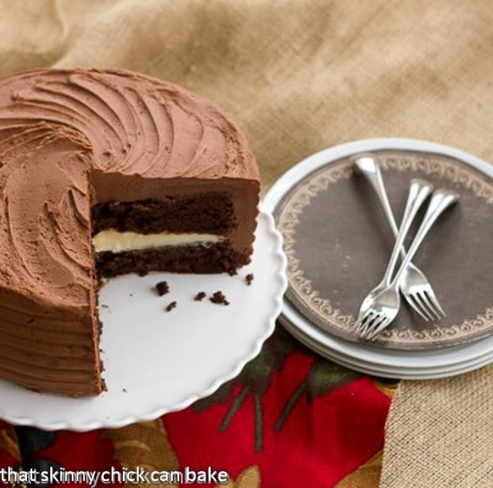 Chocolate Layer Cake Filled with White Chocolate Ganache | that Skinny Chick Can Bake