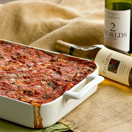Spinach Lasagna | A hearty, scrumptious pasta dish laden with spinach, cheese and tomato sausage sauce.