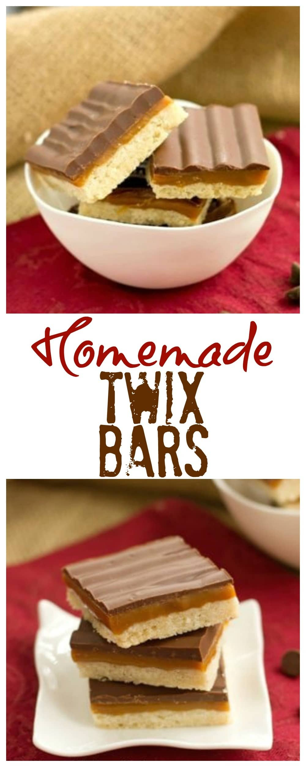 Homemade Twix Bars - bars with a shortbread crust, decadent layer of caramel and chocolate glaze. #twixbars #caramel #chocolate #barcookies