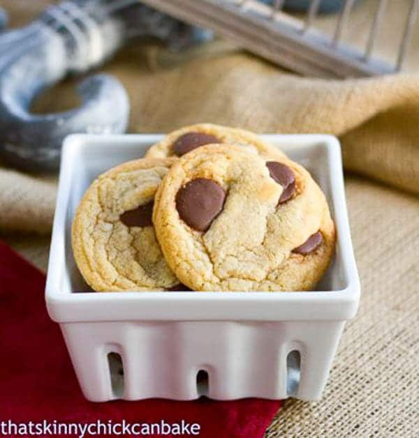 Brown Butter Cookies with Chocolate discs in a square white bowl