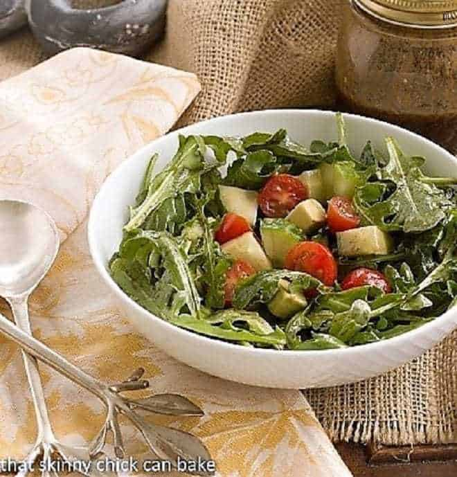 Maddy's Arugula Salad tossed with salad dressing