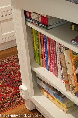 Kitchen bookshelves full of cookbooks