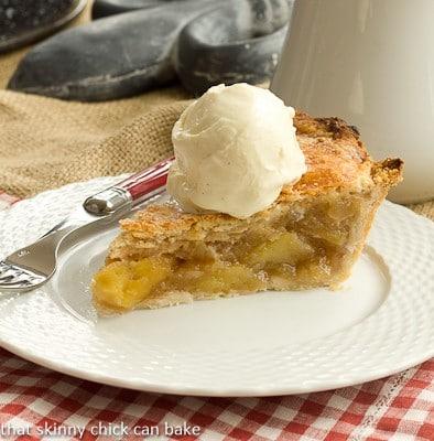 Caramel Apple Pie on a white basketweave plate