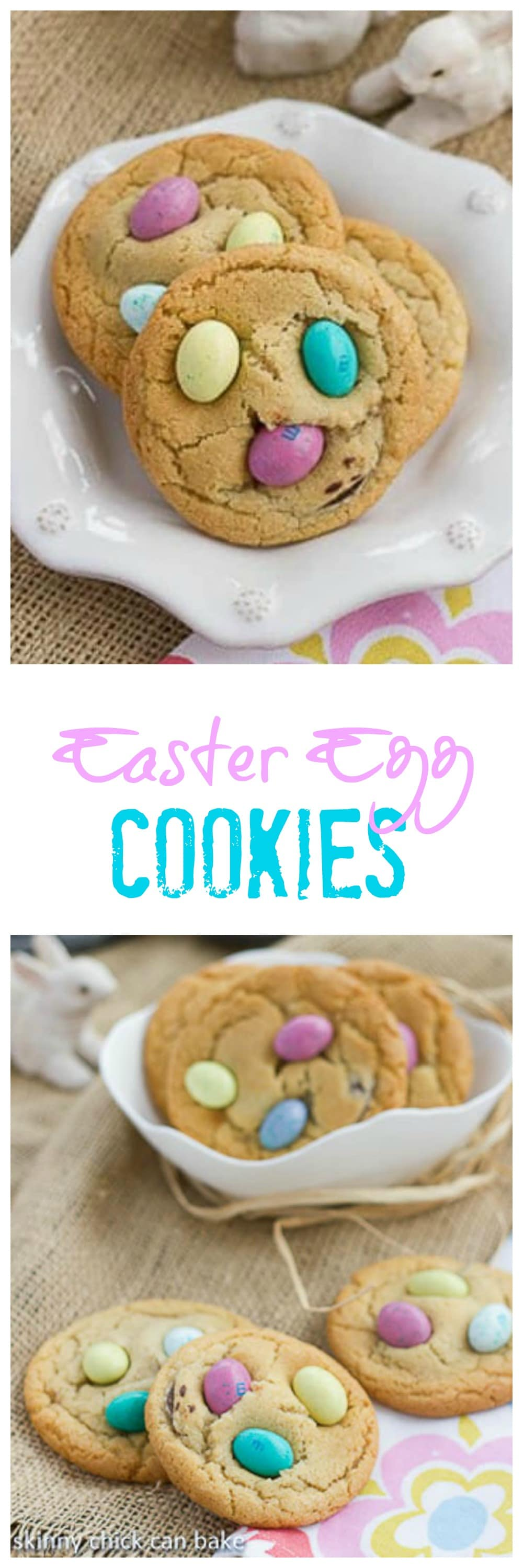 Easter Egg Cookies - Festive holiday cookies studded with chocolate discs and M&M's #Easter #cookies #chocolatechipcookies