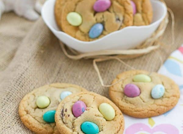 Easter Egg Cookies - Festive holiday cookies studded with chocolate discs and M&M's