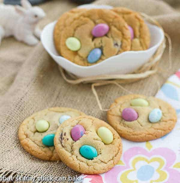 Easter Egg Cookies | Festive holiday cookies studded with chocolate discs and M&M's