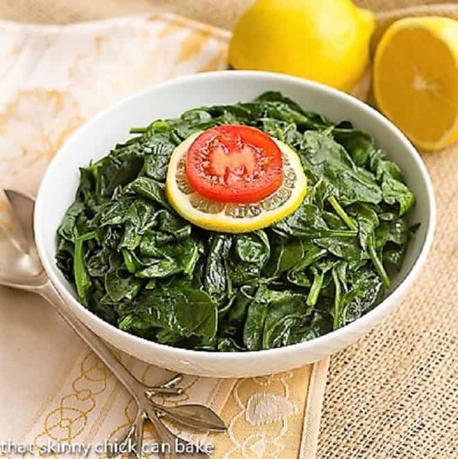 Lemon Steamed Spinach in a white bowl