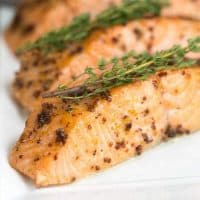 Maple-Mustard Glazed Salmon | A super easy glaze, then 15 minutes in the oven for a terrific entree!